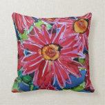 Big Red Flowers Throw Pillows