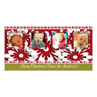 Big Red Flowers Tiny Stripes Christmas Photo Card