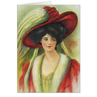 Big Red Hat Lady-Great for Invites