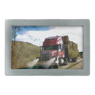 Big Red Hay Truck for Truckers & Truck-Lovers Rectangular Belt Buckle