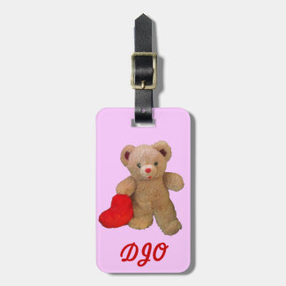 Big Red Heart Bear On Pink Luggage Tag