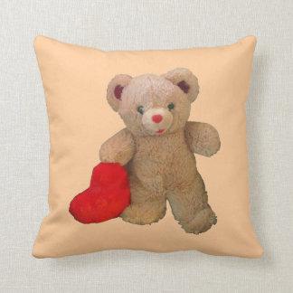 Big Red Heart Bear Throw Pillow