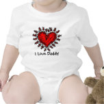 Big Red Heart I Love Daddy Baby Shirt