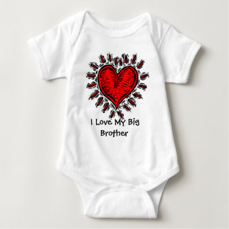 Big Red Heart I Love My Big Brother Baby T Baby Bodysuit