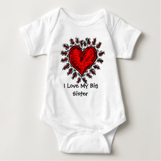Big Red Heart I Love My Big Sister Baby T Baby Bodysuit
