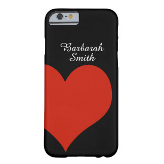 big red heart on black barely there iPhone 6 case