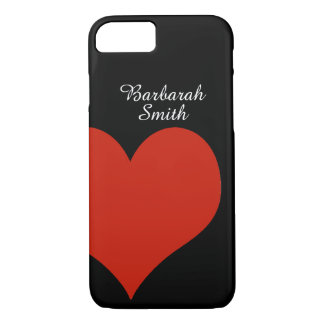 big red heart on black iPhone 7 case