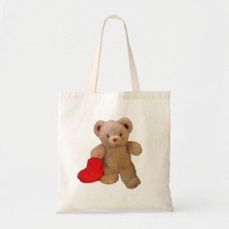 Big Red Heart Teddy Bear Tote Bag