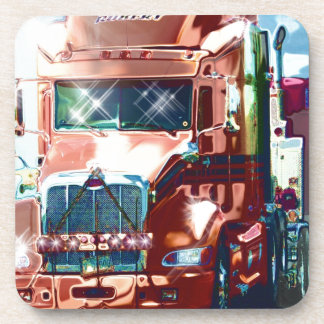 Big Red Heavy Truck for Truckers & Truck-Lovers Beverage Coaster