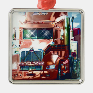 Big Red Heavy Truck for Truckers & Truck-Lovers Metal Ornament