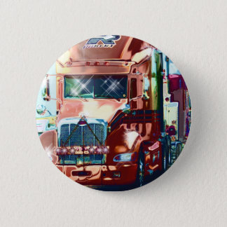 Big Red Heavy Truck for Truckers & Truck-Lovers Pinback Button