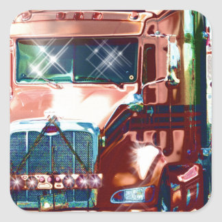 Big Red Heavy Truck for Truckers & Truck-Lovers Square Sticker