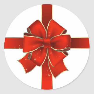 Big Red Holiday Bow Classic Round Sticker