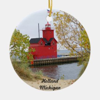 Big Red, Holland Michigan Double-Sided Ceramic Round Christmas Ornament