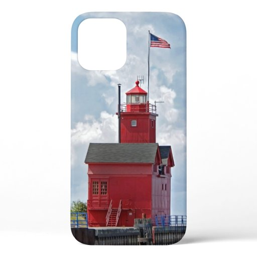 """Big Red"" Lighthouse in Michigan iPhone 12 Case"