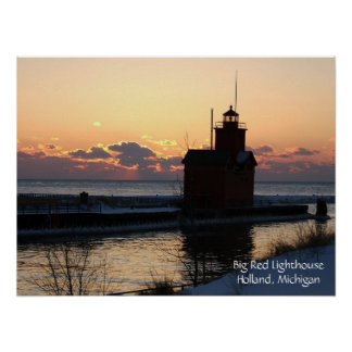 Big Red Lighthouse Poster