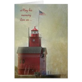 Big Red Lighthouse Sympathy Card