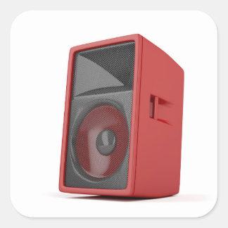 Big red loudspeaker square sticker