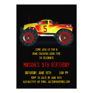 Big Red Monster Truck Birthday Party Invitations