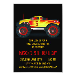 "Big Red Monster Truck Birthday Party Invitations 5"" X 7"" Invitation Card"