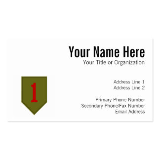 Big Red One, 1st ID Patch Business Card Template