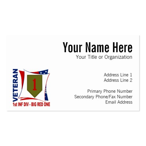 Big Red One Vet Double-Sided Standard Business Cards (Pack Of 100)