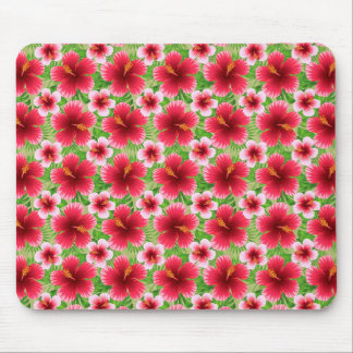 Big Red Pink Hibiscus Flowers Mouse Pad