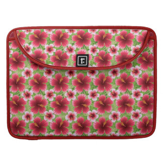 Big Red Pink Hibiscus Flowers Sleeve For MacBook Pro