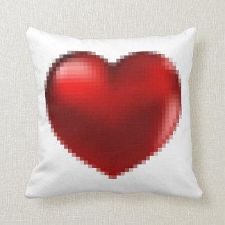 big red pixel heart throw pillow