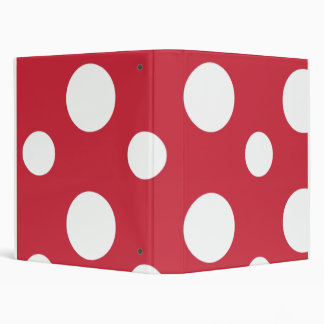 Big Red Polka Dots School Notebook 3 Ring Binder