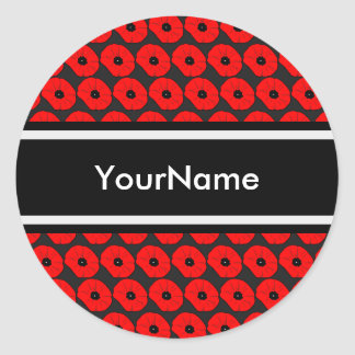 Big Red Poppies Pattern with Personalized Name Classic Round Sticker
