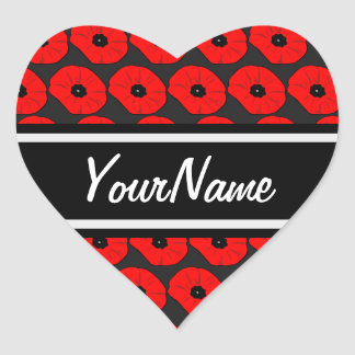 Big Red Poppies Pattern with Personalized Name Heart Sticker