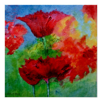 Big Red Poppies Poster