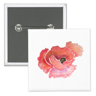 Big Red Poppy Flower Watercolor Button