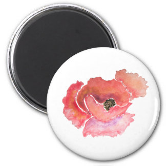 Big Red Poppy Flower Watercolor Magnet