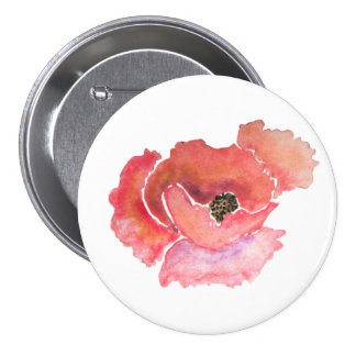 Big Red Poppy Flower Watercolor Pinback Button