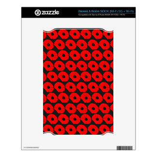 Big Red Poppy Flowers Pattern Skins For NOOK