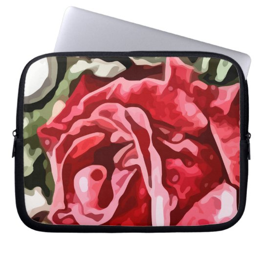Big red rose painting computer sleeve
