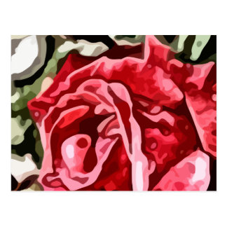 Big red rose painting postcard