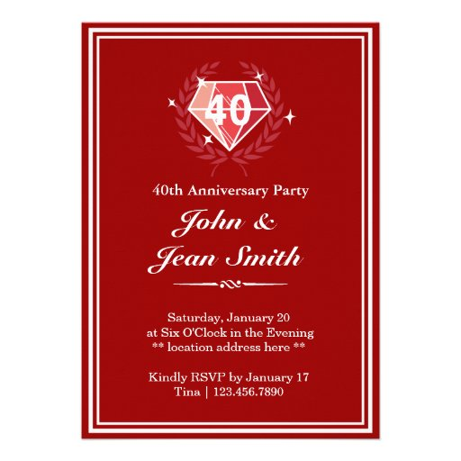 Red Ruby Gems 40th Anniversary Party Invites
