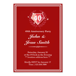 "Big Red Ruby Gems 40th Anniversary Party Invites 5"" X 7"" Invitation Card"