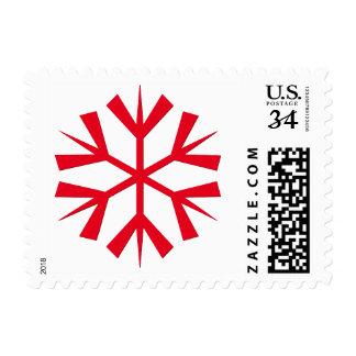 Big Red Snowflake White Christmas Holiday Postage