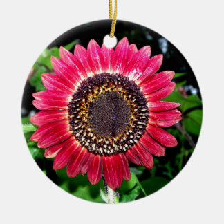 Big Red Sunflower Ceramic Ornament