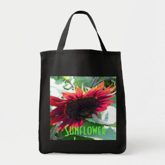 Big Red Sunflower Grocery Tote Bag