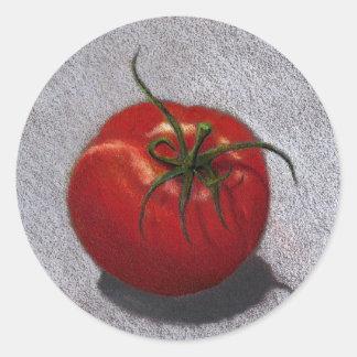 BIG RED TOMATO ART CLASSIC ROUND STICKER