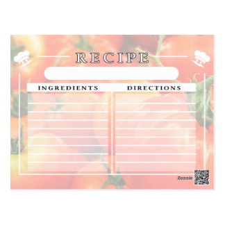 Big Red Tomatoes Recipe Card for Handwritten