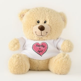 Big Red Watercolor Heart Teddy Bear