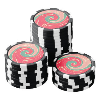 Big red wave set of poker chips