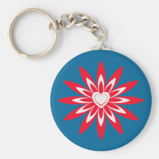 Big red & white flower with heart on blue keychain