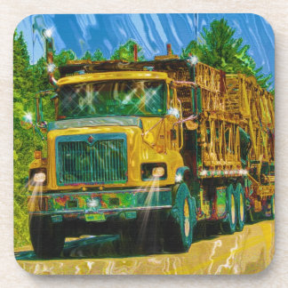 Big Red Yellow Truck for Truckers & Truck-Lovers Drink Coaster